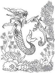 ariel mermaid chatting baby sea horses coloring