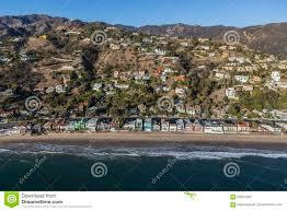hillside homes malibu beach and hillside homes aerial near los angeles stock