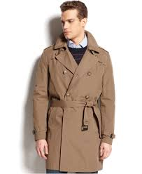 tommy hilfiger double breasted belted trench coat in natural for
