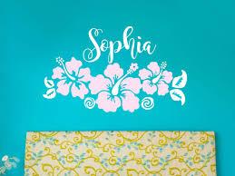 teen girl wall decal etsy hawaiian hibiscus flowers name wall decal moana inspired