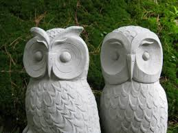 owls cast garden owl statues two concrete owls pair