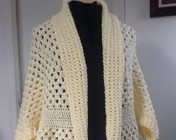 Cocoon Sweater Cardigan Crochet Granny Square Cocoon Sweater Cardigan Shrug In Taupe