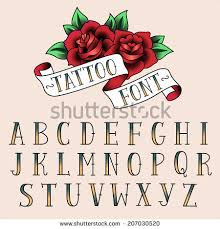 set tattoo style letters alfabeth your stock vector 207030520