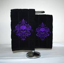 Skull Decorations For The Home Pair Of Full Size Bath Towels With Large Embroidered Skull Design