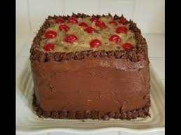 german chocolate cake three layers with coconut caramel pecan