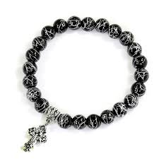 men bracelet cross images Buy silver wire plating black onyx beads bracelet jpg