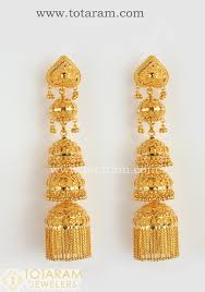 gold chandelier earrings 22 karat gold jhumkas gold chandelier earrings 235 gjh113 in