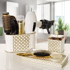 hair and makeup organizer diamond lattice makeup brush holder sink cabinet vanity