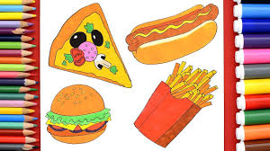 how to draw pizza hamburger dog french fries learn to draw