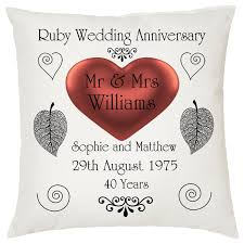 ruby gifts ruby wedding keepsake cushion personalised names date ideal