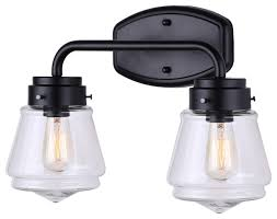 Black Vanity Lighting Canarm Lochlan Vanity Light With Clear Glass Easy Connect