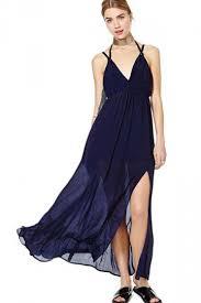 navy maxi dress navy blue charming womens split backless v neck chiffon maxi dress