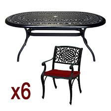 Cast Aluminium Outdoor Furniture by 6 Seater Cast Aluminium Garden Furniture Set With Oval Table Black