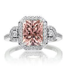 morganite engagement ring white gold 1 5 carat emerald cut three morganite halo