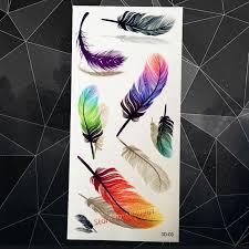 tattoo bulu 3d new lovely 3d glitter feather tattoo sticker gold red blue color a3d