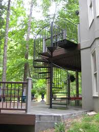 keswick virginia deck to patio spiral staircase in metal by