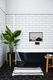 Small Bathroom With Black Hexagon by Best 25 Tile Trim Ideas On Pinterest Master Bath Shower