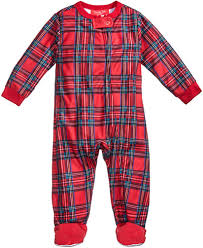 family pajamas baby boys or baby plaid footed