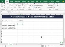 convert numbers to words text in excel without pasting macros