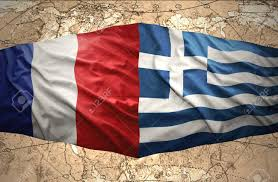 Greek Flag Background Waving Greek And French Flags On The Background Of The Political