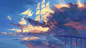 best desktop backgrounds 2016 hanyijie sky scenery ship anime art 1920x1080 hd wallpapers cool