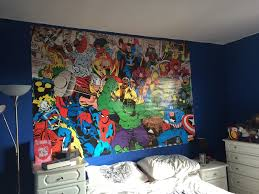 my awesome new wall mural marvel comics journeys are my diary as you can see from the pictures you can t even see where the two pieces join overlap it s really a seemless finish i was so pleased with the result that