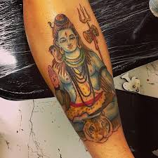 colorful lord shiva tattoo design for arm