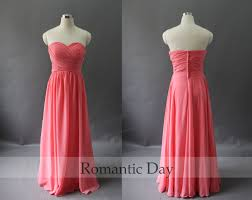 best selling coral sweetheart a line long chiffon bridesmaid