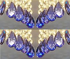 24 royal blue chandelier drops glass crystals shabby droplets chic