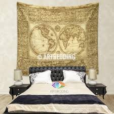 Tapestry On Bedroom Wall Vintage World Map Wall Tapestry Old World Map Wall Hanging