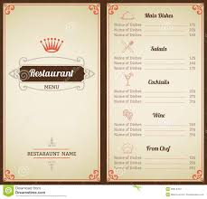 drink menu template free restaurant menu template stock vector image of creative 45914412