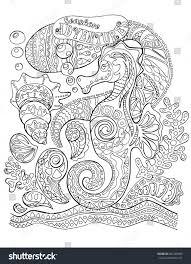 seahorse sea shells coloring page stock vector 662399680