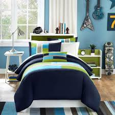 Teenage Bed Comforter Sets by Simple Bedroom With Stripe Blue Green Comforter And Wrought Iron