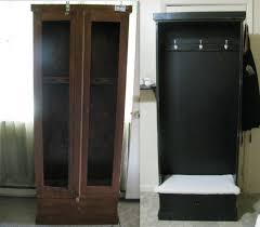 Diy Repurposed Furniture Ideas Old Gun Cabinet To Hall Tree Bench Repurposed Pinterest