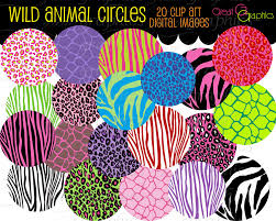 animal print circle clip art digital clipart circle tags set
