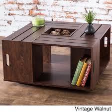 furniture of america crete vintage walnut coffee table furniture of america the crate square coffee table with open shelf
