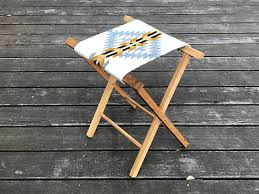 oak camp stool cabin rustic pendleton wool seat teak oil