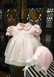 will beth pink sheer overlay smocked dress with bonnet