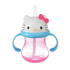 kitty straw cup 8oz pink
