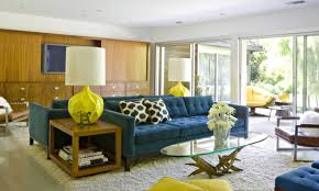 Modern Table For Living Room by Mid Century Modern Living Room Ideas With Blue Sofa And Round