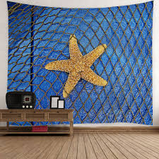 starfish fishing net print home decor tapestry light blue w inch