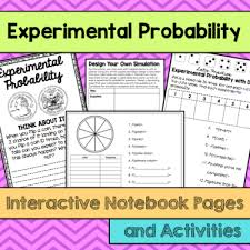 Experimental Probability Worksheet Experimental Probability Notebook Pages Activities