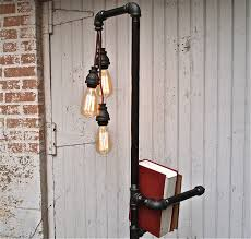 diy pipe floor lamp with bookshelf design idea decofurnish