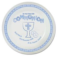 communion presents personalised blue communion plate for boys communion