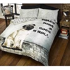 Quilt Duvet Covers Pug Dog Quilt Duvet Cover And Pillowcase Bedding Set White
