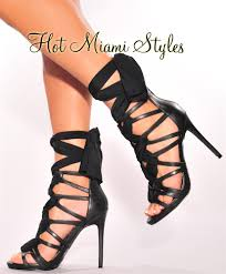 ribbon heels faux leather ribbon lace up high heels