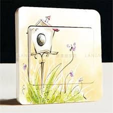 Garden Style Home Decor Purple Violet Lavender Garden Style Switch Stickers Cute Cartoon