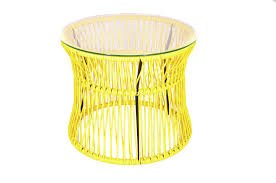 Yellow Side Table Contemporary Side Table Glass Steel Plastic Ita Boqa