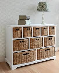 White Ready Assembled Bedroom Furniture Tetbury Wide Storage Chest Of Drawers With Wicker Baskets Very