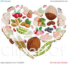 clipart of a sketched heart made of fruits and nuts royalty free